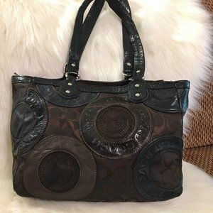 COACH Pieced Patchwork Snaphead Sig Tote